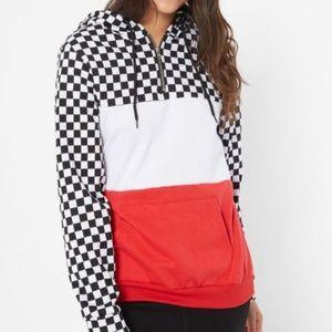 Top hoodie Sweat Shirt checkered black white NEW